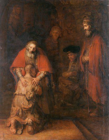 Schilderij De terugkeer van de verloren zoon van Rembrandt van Rijn